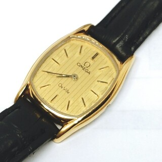 OMEGA - 【正規品】オメガ デビル ゴールド系文字盤 スイス製 クォーツ レディース腕時計