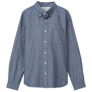 MUJI (無印良品) - 無印良品 オーガニックコットンインディゴシャンブレーボタンダウンシャツ Lサイズ