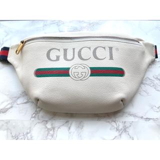グッチ(Gucci)の【美品】GUCCI グッチ ウエストボディバッグ ホワイト(ボディバッグ/ウエストポーチ)