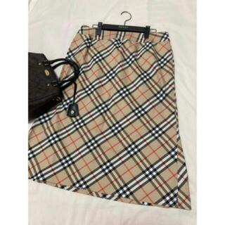 バーバリー(BURBERRY)の美品 バーバリー ロンドン スカート チェック ベージュ 大きいサイズ 15(ひざ丈スカート)