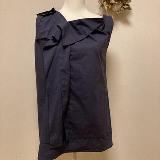 マルニ(Marni)の♥u-001♥ MARNI ノンスリーブ 紺 ブラウス(シャツ/ブラウス(半袖/袖なし))