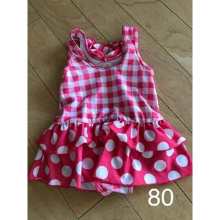 ニシマツヤ(西松屋)の水着 女の子 ワンピース 水着 80サイズ ピンク色 水玉 ひらひら(水着)
