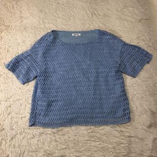 プラステ(PLST)の美品 プラステ カットソー 水色 M(Tシャツ(半袖/袖なし))