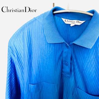 Christian Dior - 【Dior SPORTS】ディオールスポーツ 麻混 ポロシャツ ブルー M