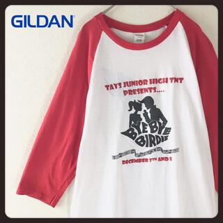 ギルタン(GILDAN)の【レア】USAバイ・バイ・バーディー ラグラン七分袖t GILDAN  M 赤(Tシャツ/カットソー(七分/長袖))