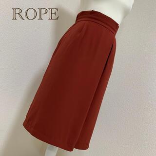ロペ(ROPE)の【中古美品】ROPEタック膝丈スカート*レッド系 サイズ38(ひざ丈スカート)