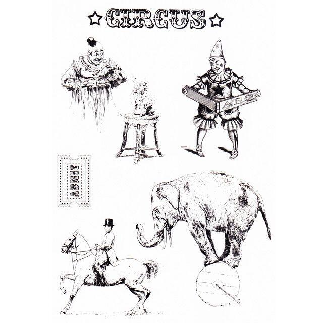 クリアスタンプ サーカスと動物 インテリア/住まい/日用品の文房具(印鑑/スタンプ/朱肉)の商品写真