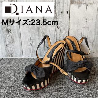ダイアナ(DIANA)の美品 DIANA ダイアナ サンダル ウェッジソール ストライプ リボン(サンダル)
