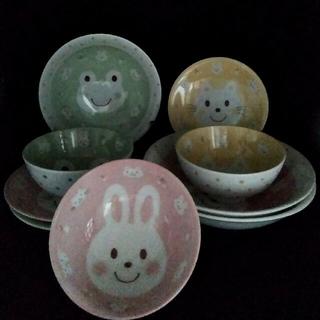 子供用 絵柄入りお茶碗、皿、スープ皿3種類(日本製) (食器)
