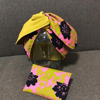 ターバン アフリカンターバン 花柄 ピンク ポケットティッシュカバー(ヘアバンド)