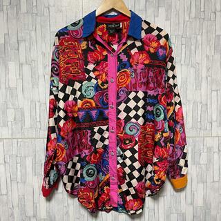 ART VINTAGE - 古着 シルク100% 長袖 シャツ ピカソ オーバーサイズ 幾何学模様 超希少柄