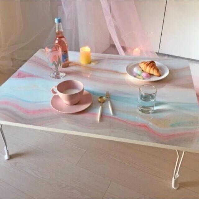 Francfranc(フランフラン)の大理石柄 マーブル柄 テーブル 折りたたみテーブル ローテーブル  ストーン柄 インテリア/住まい/日用品の机/テーブル(ローテーブル)の商品写真