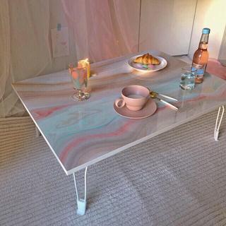 Francfranc - 大理石柄 マーブル柄 テーブル 折りたたみテーブル ローテーブル  ストーン柄