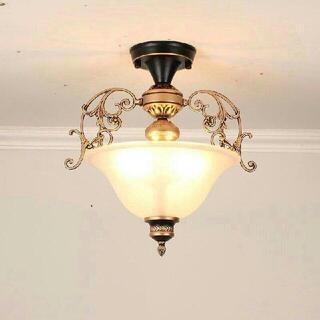 バルコニーの入り口の廊下の照明アメリカンレトロ半天井のシャンデリア6(天井照明)