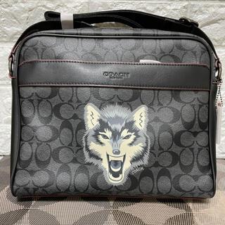 COACH - COACH コーチ ショルダーバッグ シグネチャー オオカミ ウルフ 黒 グレー