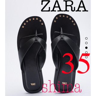 ザラ(ZARA)のZARA FLAT LEATHER SANDALS レザーフラットサンダル 35(サンダル)