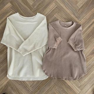 ユニクロ(UNIQLO)のワッフルクルーネックᎢ ユニクロ(Tシャツ(長袖/七分))