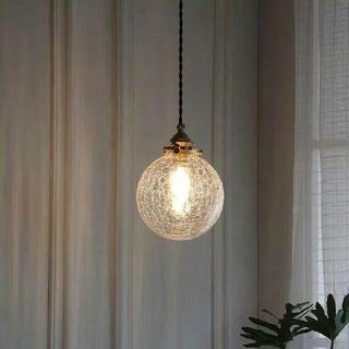 黄銅ガラスのテラス球状の小さなペンダントライト(天井照明)