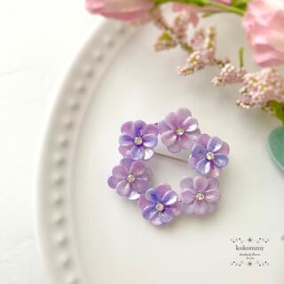 683 期間限定 紫陽花のリース ブローチ コサージュ クレイフラワー