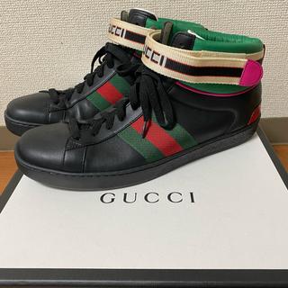 グッチ(Gucci)のGUCCI  ACE ロゴストラップ ハイカットスニーカー(スニーカー)
