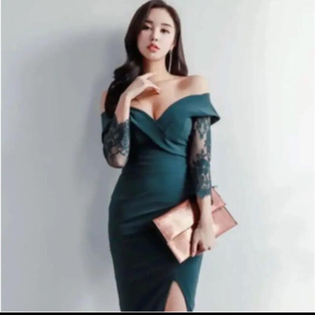 ワンピース キャバドレス グリーン 即購入大歓迎 パーティードレス レディースのフォーマル/ドレス(ミニドレス)の商品写真