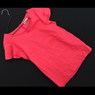 フレイアイディー(FRAY I.D)のネFRAY I.D リネン100% フレア袖 ブラウス size0/赤 (シャツ/ブラウス(半袖/袖なし))