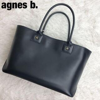 agnes b. - 美品✨アニエスベー レザー ハンドバッグ ロゴ金具 ネイビー