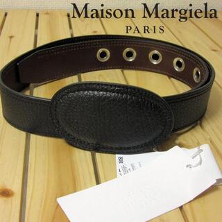 マルタンマルジェラ(Maison Martin Margiela)の未使用 メゾンマルジェラ メンズ レザーベルト ハトメ バックル 黒90 L(ベルト)