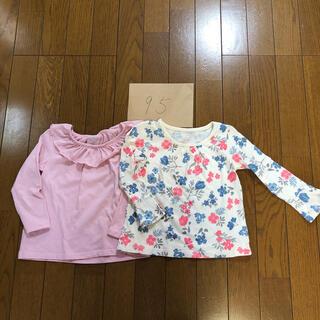 ニシマツヤ(西松屋)の西松屋 95  ペプラム袖 カットソー 花柄 オフホワイト ピンク(Tシャツ/カットソー)
