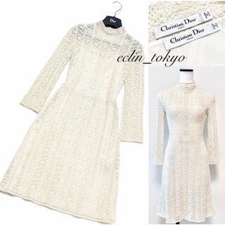 クリスチャンディオール(Christian Dior)のChristian Dior お上品な《総ニットレース》ワンピース E292(ひざ丈ワンピース)