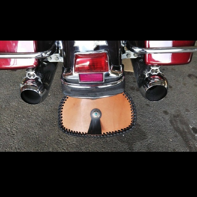 本革マッドフラップ 自動車/バイクのバイク(装備/装具)の商品写真