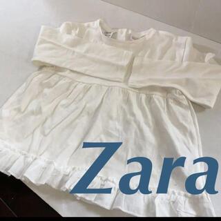 ザラ(ZARA)の新品未使用Zara baby 90-100 白ロンTシャツ大きめフリル(Tシャツ/カットソー)