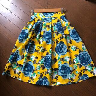 ディーホリック(dholic)の花柄 タックフレアスカート(ひざ丈スカート)