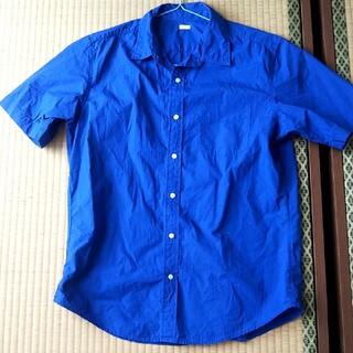 ジーユー(GU)の半袖 カラーシャツ ブルー メンズ(シャツ)