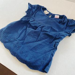 ザラ(ZARA)のZara 新品購入ザラベイビー 大きめ80トップスネイビーリボンフリル刺繍レース(シャツ/カットソー)