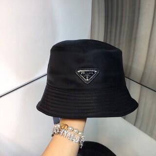 PRADA プラダ ロゴ バケットハット ブラック 黒 パステル 帽子