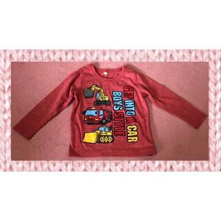 ニシマツヤ(西松屋)の長袖Tシャツ 赤(えんじ色 ボルドー)はたらくくるま 95cm(Tシャツ/カットソー)