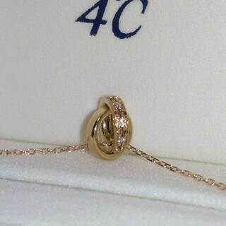 4℃ ダブルループ K10 PG ダイヤモンド ネックレス
