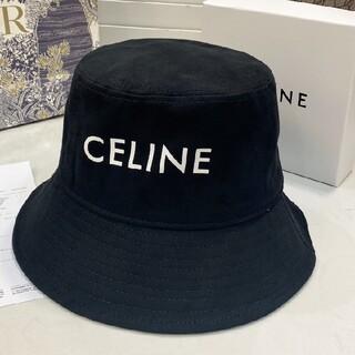 ◎celineロゴ ロゴ バケットハット ブラック 帽子