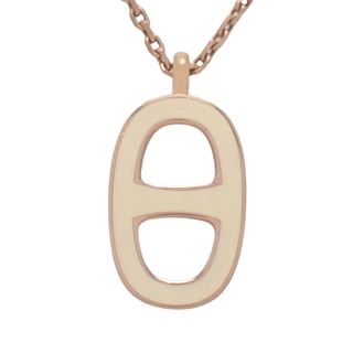 Hermes - エルメス シェーヌダンクルネックレス 白 ピンクゴールド 40800075424