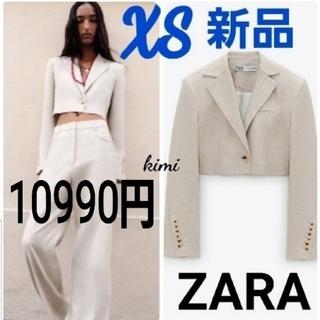 ZARA - ZARA (XS エクリュ) クロップドブレザー クロップド丈ジャケット リネン