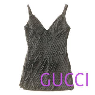 グッチ(Gucci)の新品 未使用  GUCCI グッチ キャミソール プリーツ 黒 ブラック(キャミソール)