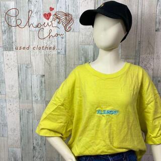 XLARGE - 【大人気】エクストララージ 刺繍 文字ロゴ イエロー Tシャツ 半袖 古着