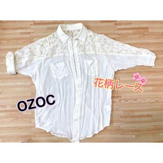 オゾック(OZOC)のOZOC(オゾック)花柄レース シャツ ブラウス 羽織 白(シャツ/ブラウス(長袖/七分))