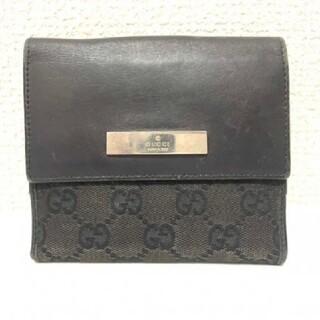 グッチ(Gucci)のGUCCIグッチGG柄 キャンバス レザー ブラック二つ折り財布(折り財布)