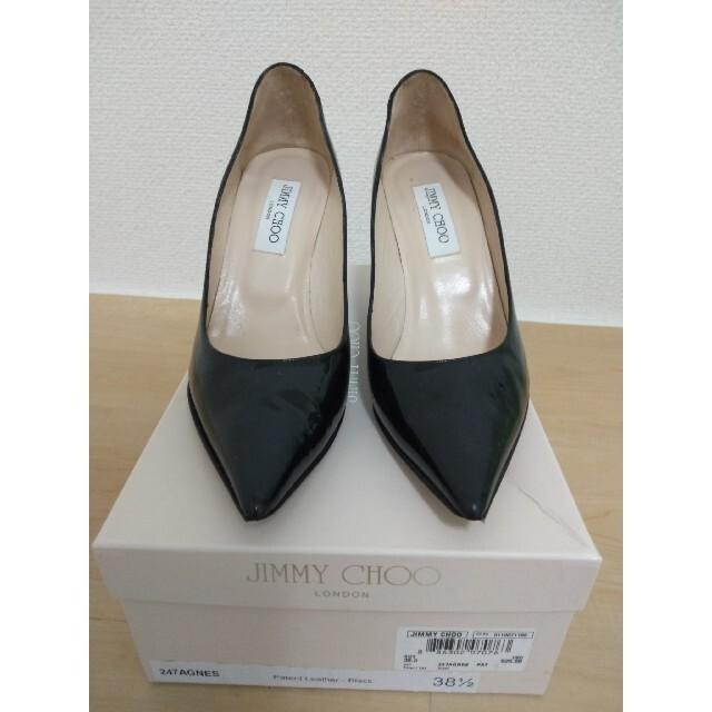 JIMMY CHOO(ジミーチュウ)のJIMMY CHOOジミーチュウ ハイヒールパンプス 38.5 エナメルブラック レディースの靴/シューズ(ハイヒール/パンプス)の商品写真