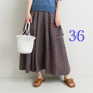 IENA - IENA  ギンガムギャザースカート  ブラウンA  36