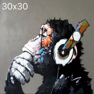 ダイヤモンドアート 猿 MUSIC 30x30cm 四角ビーズ