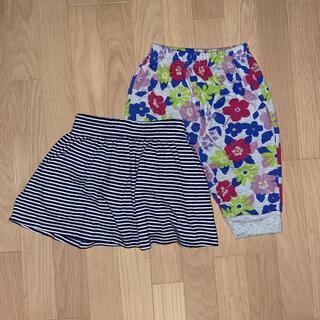 ユニクロ(UNIQLO)のキッズ 女の子 ボーダースカート&花柄パンツ 120㎝(スカート)