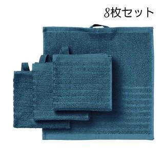 イケア(IKEA)のIKEA タオルハンカチ ブルー ループ付き 8枚セット ヴォーグショーン(タオル/バス用品)